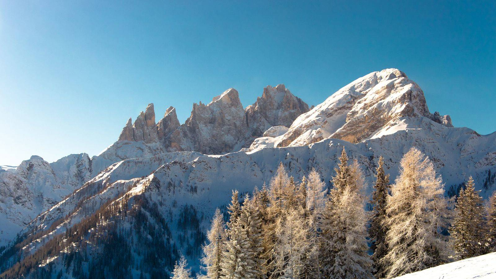 View of the surrounding snowy Dolomites