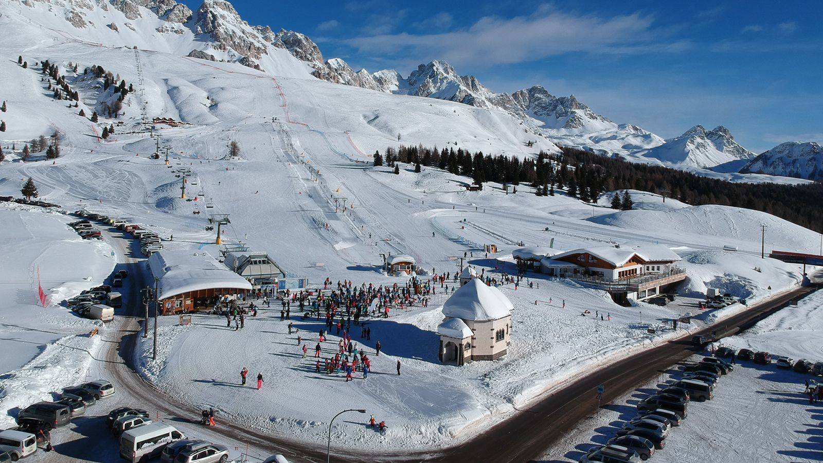 Aerial view of the ski resort of Passo San Pellegrino