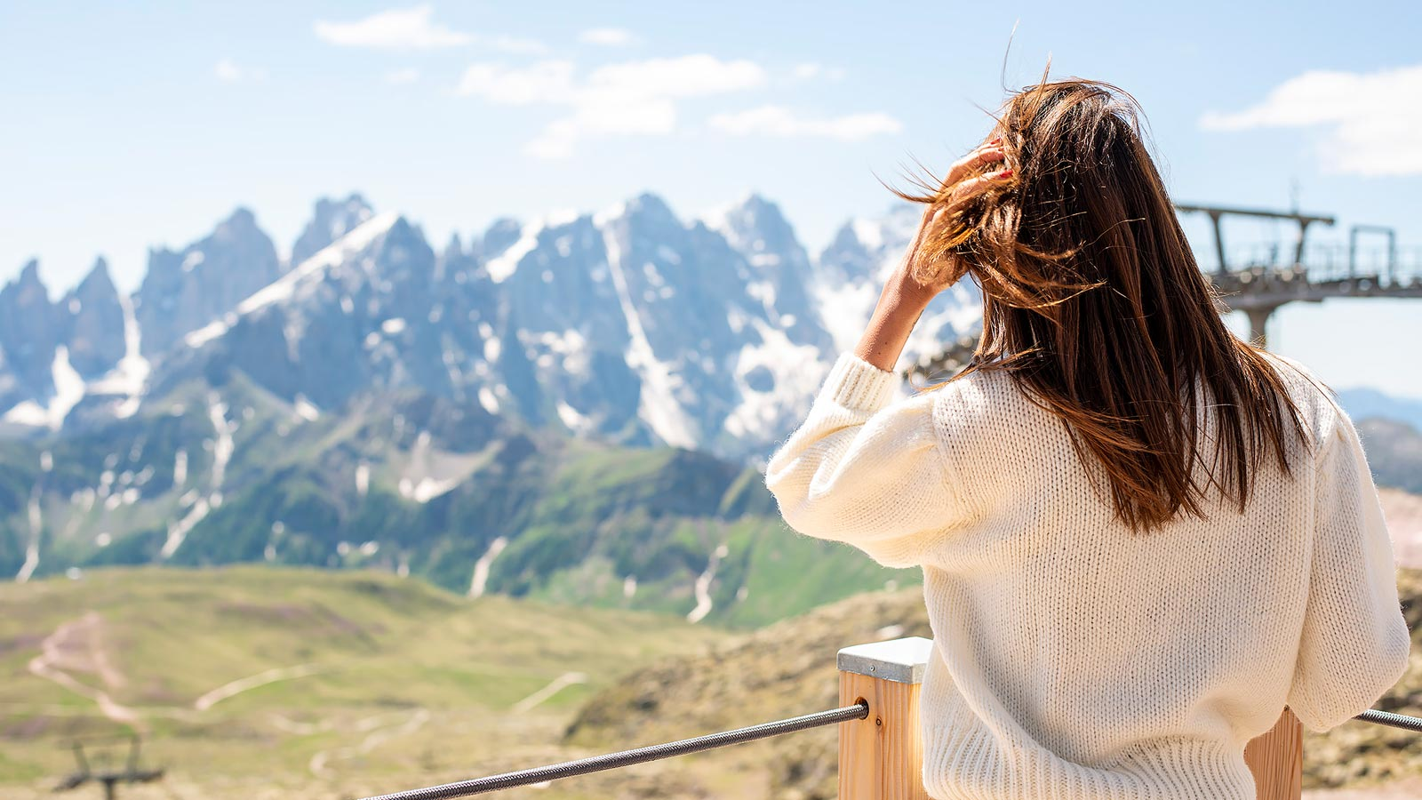 View of Passo San Pellegrino from an alpine lake