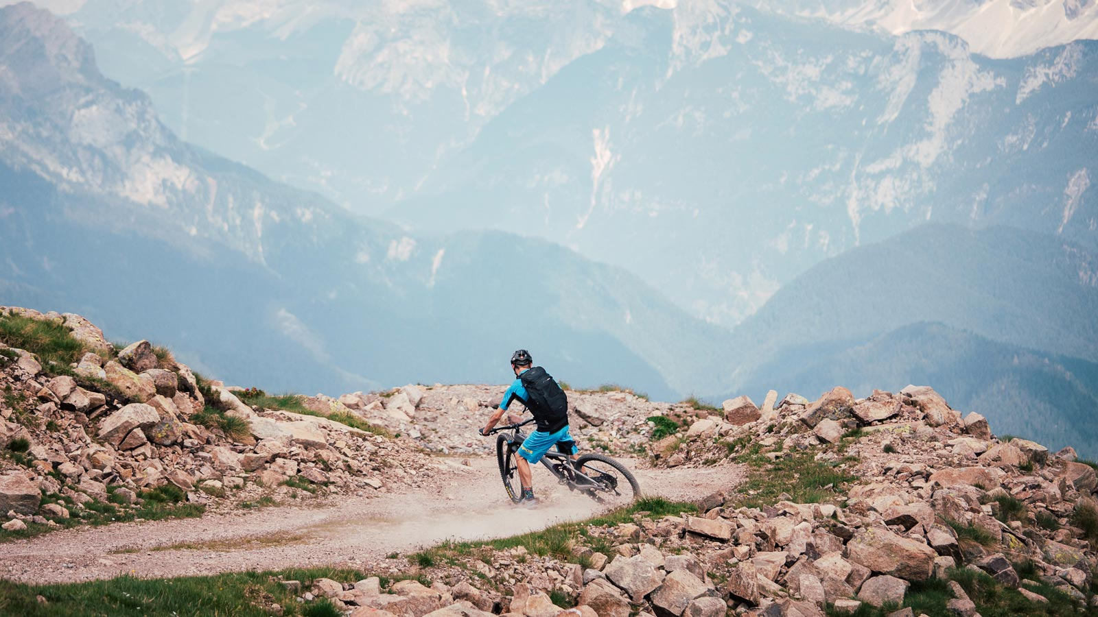 View of the Dolomites from Lake San Pellegrino