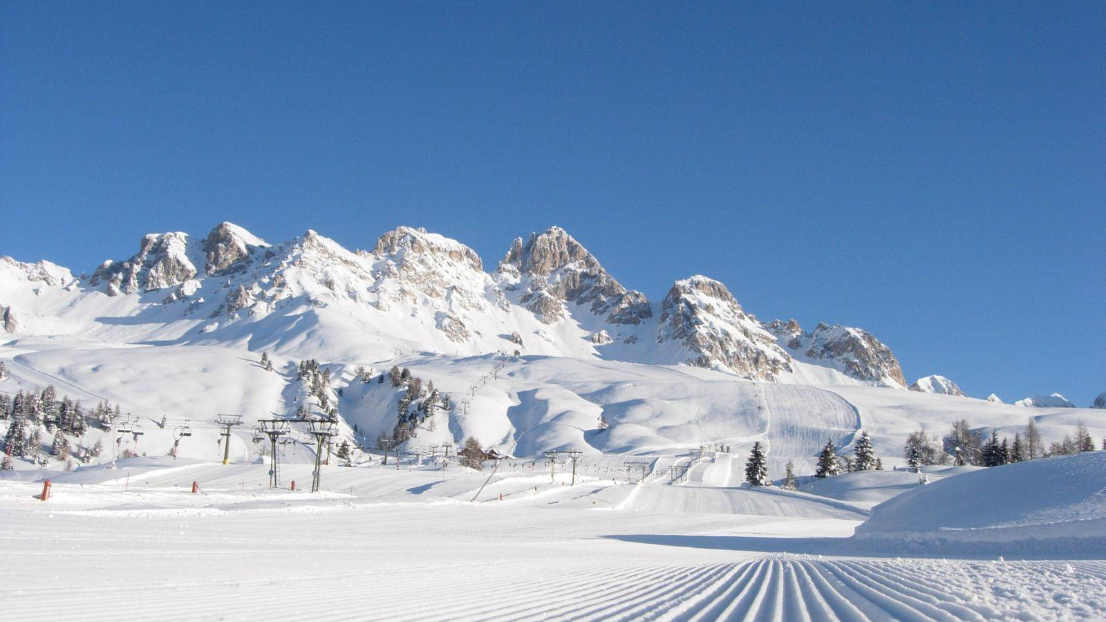 The ski resort at Passo San Pellegrino during the winter season