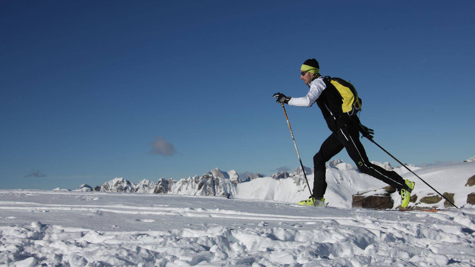 A boy practicing alpine skiing at Passo San Pellegrino