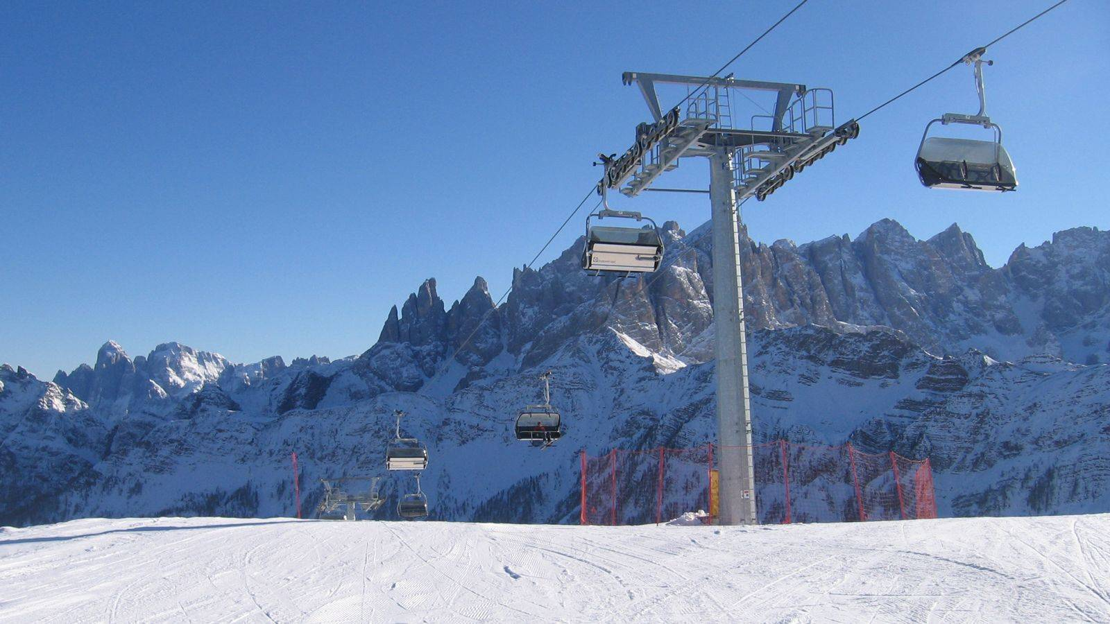 View of the chairlift system at Passo San Pellegrino