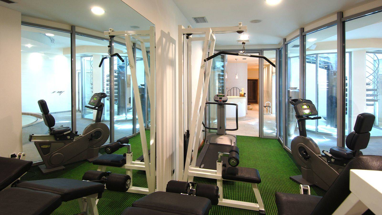 The gym of one of the hotels in Passo San Pellegrino